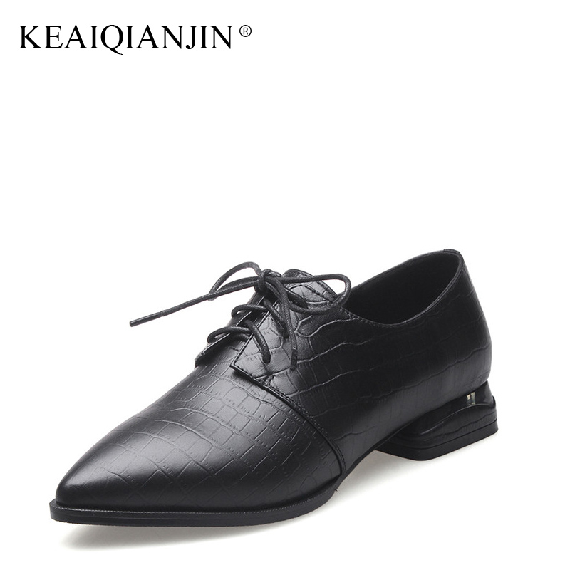 KEAIQIANJIN Woman Sheepskin Flats Black Red Silvery Plus Size 33 - 41 Spring Autumn Derby Shoes Lace Up Genuine Leather Shoes keaiqianjin woman sheepskin flats black red silvery plus size 33 41 spring autumn derby shoes lace up genuine leather shoes