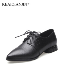 KEAIQIANJIN Woman Sheepskin Flats Black Red Silvery Plus Size 33 – 41 Spring Autumn Derby Shoes Lace Up Genuine Leather Shoes