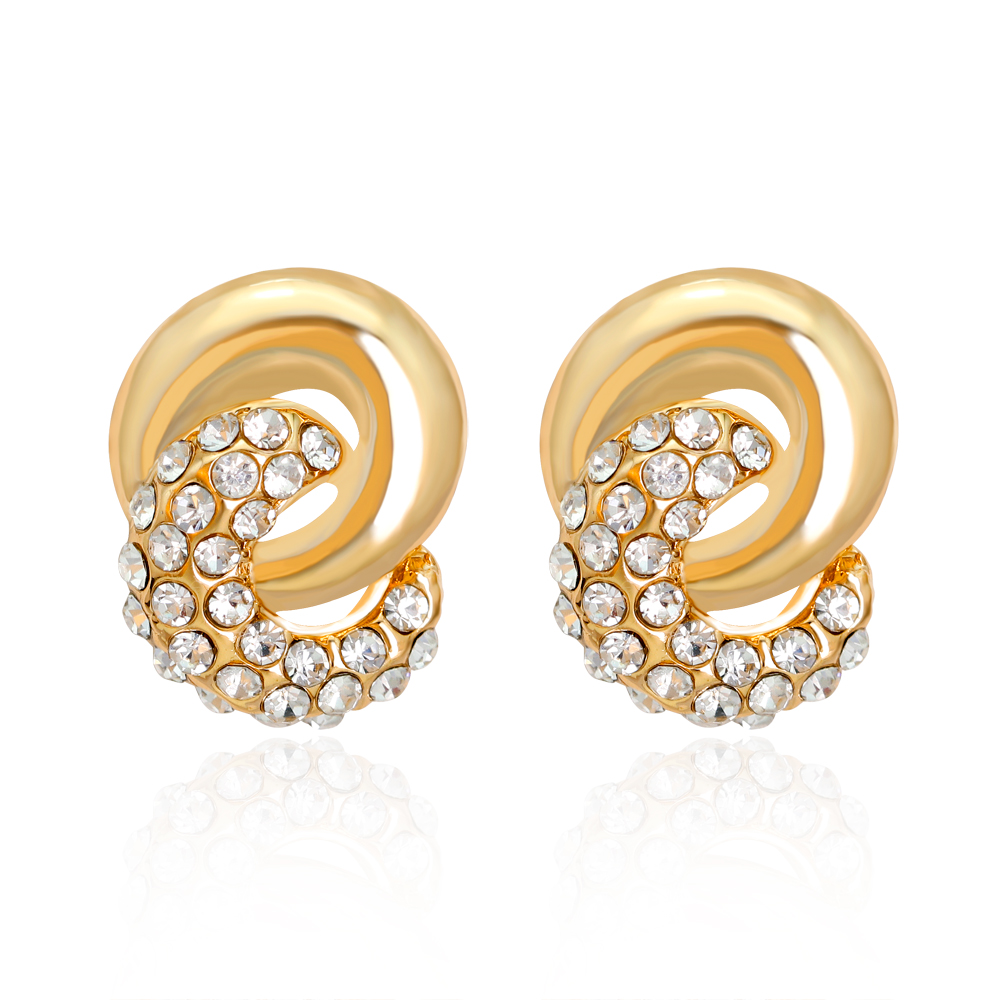 Luxury Simple Design Kc Gold Color Small Stud Earrings Knot Pearl Earrings  Jewelry For Women Brincos