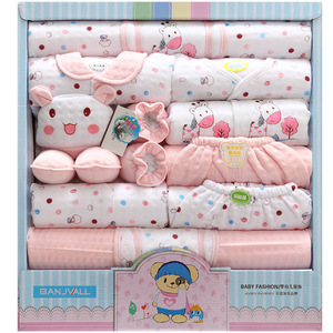 Image 1 - 18 piece newborn baby girl clothes winter 100% cotton infant suit baby boy clothes set outfits pants baby clothing hat bib ropa