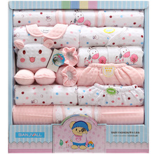 18 piece newborn baby set boy clothes 100% cotton infant suit baby girl clothes outfits pants baby clothing hat bib ropa de bebe(China)