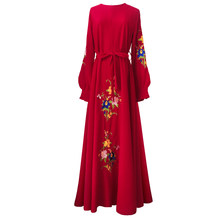Floral Embroidery Islam Dress 2018 Noble Long Sleeve Muslim Women Maxi  Dress Elegant A-line Big Swing Muslimic Evening Dress 214af9d92043