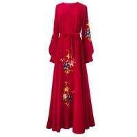 Floral Embroidery Islam Dress 2018 Noble Long Sleeve Muslim Women Maxi Dress Elegant A line Big Swing Muslimic Evening Dress
