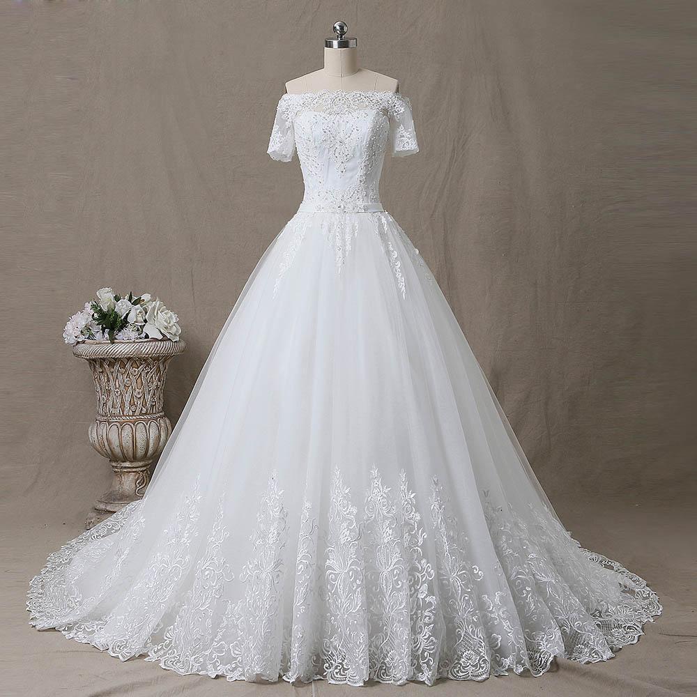SL 5T Boat Neck Wedding Gowns Short Sleeve Muslin Boho Luxury Lace Embroidery Wedding Dress 2019