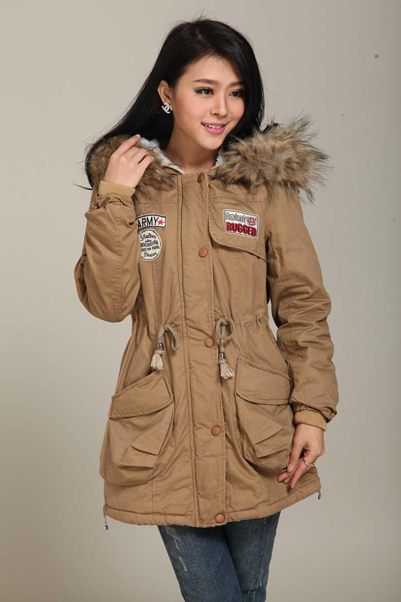ФОТО Women Autumn Winter Thicken Wool Overcoat Wadded Jacket Outerwear Large Fur Collar Slim Long Coat Parkas Plus Size H4505
