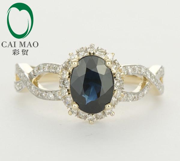 Caimao promoción 14 k Gold Natural Deep Dark azul 1.67ct con zafiros y diamantes anillo de compromiso