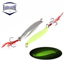 цена на Metal Spinner Spoon Fishing Lure Hard Baits Sequins Noise Paillette with Feather Treble Hook Fishing Tackle 7/10/15/20/30/40g