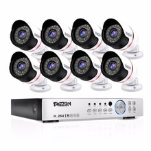 Tmezon AHD 8CH 1080P DVR CCTV 8Pcs 1080P 2.0MP Camera Home Security Surveillance CCTV System Outdoor Weatherproof Bullet Cam Kit