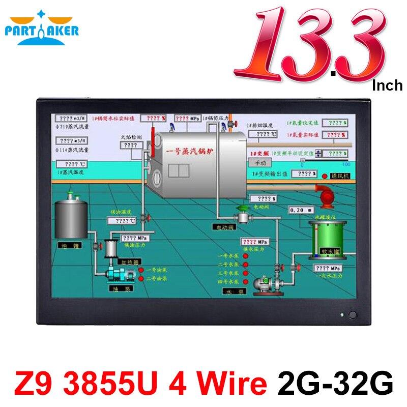 13,3 дюймовый промышленный ПК Intel 3855U, Черный планшетный ПК, двухъядерный процессор, сенсорный экран, все в одном ПК