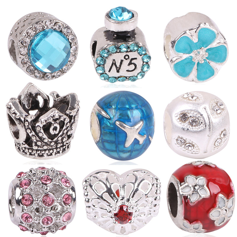 Free Shipping 1pc Large Hole Silver Color Beads Lovely Minnie Mouse Charms Fits European Pandora Charm