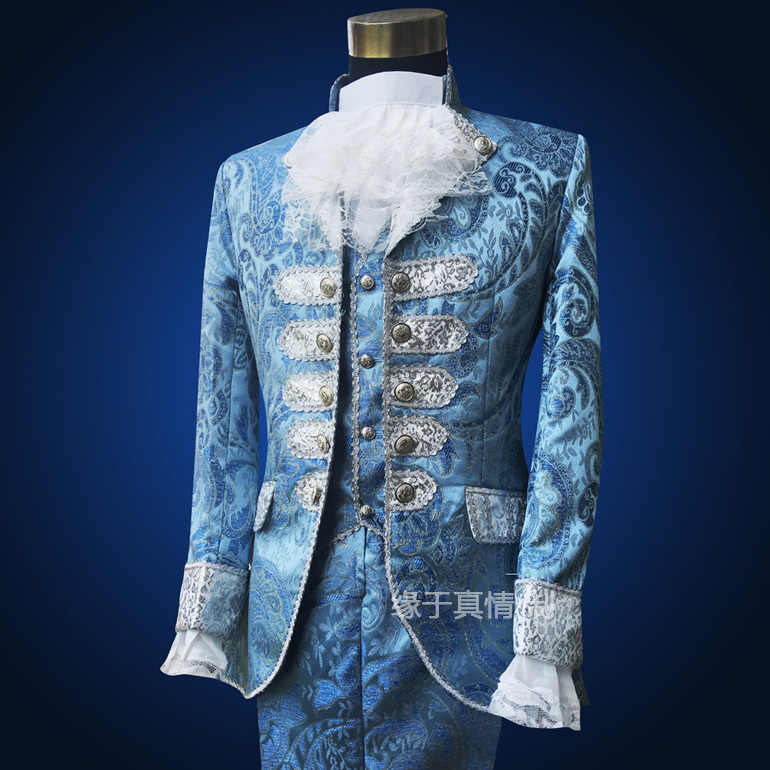 Azul Royal Mens trajes de Época Medieval Renacimiento Etapa Rendimiento William Príncipe Encantador Cuento de Hadas Trajes de la Etapa Colonial