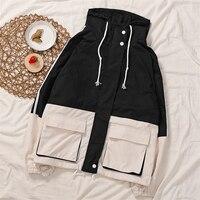 TYHRU Autumn Women Contrast Color Lapel Zippers Spliced Lace Up Full Hood Jacket