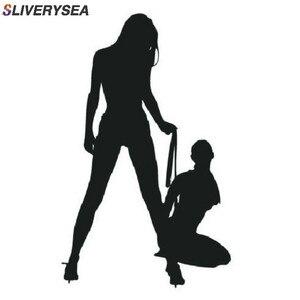 Image 1 - SLVIERSEA autocollants muraux classiques et Sexy pour filles, autocollants décoratifs en Bikini, noir/argent housse de voiture en vinyle
