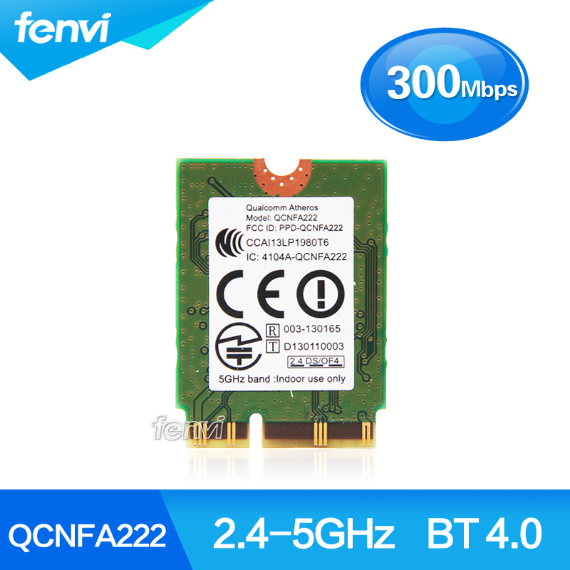Atheros QCNFA222 AR5BWB222 de banda Dual NGFF 300 Mbps Wlan 802.11a/b/g/n 2,4 GHz/5 GHz Wifi + Bluetooth BT 4,0 Mini tarjeta