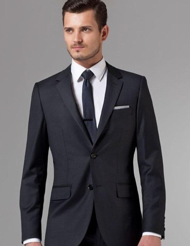 Costumes sur mesure hommes costume noir marié porter 2019 haute qualité formelle smoking