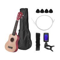 21 Inch Colored Acoustic Soprano Ukulele Ukelele Uke Kit Basswood with Carry Bag Uke Strap Strings Picks Tuner