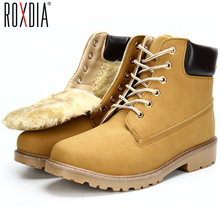 New big size leather men boots winter man shoes ankle boot men's snow shoe martin cowboy autumn man fur velvet flats 1208