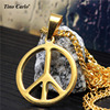 Tino Carlo Man S World Peace Sign Pendant Necklace 316L Steel Love Sign HipHop Neckalce Women