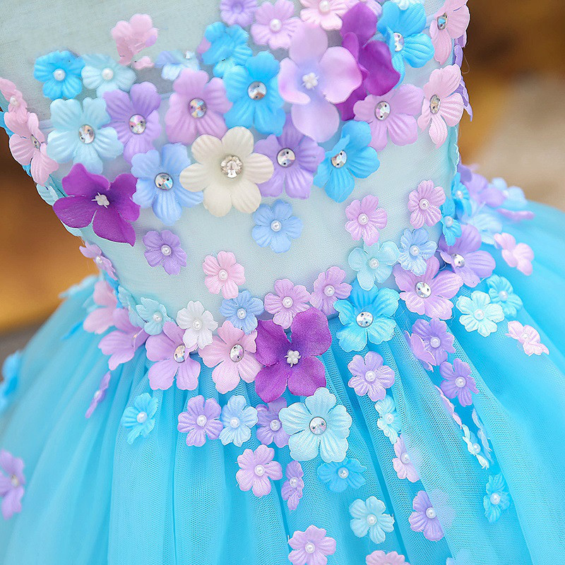Baby girls pageant dress for party Christmas costume sleeveless ball gown princess dress hollow mesh short flowers girl dresses gc y08006g1