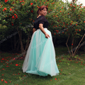 Новый 7 слоя два тона макси лонг женщины юбки дамы тюль юбка американский одежды сплит свадьба юбка Faldas юп Saia
