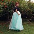 New 7 Layers Two Tone Maxi Long Women Skirts Ladies Tulle Skirt American Apparel Split Wedding Skirt Faldas Faldas Jupe Saia