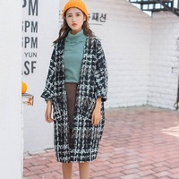 Style Women Autumn Winter Plaid Trench Oversize Half Sleeve Warm Outerwear
