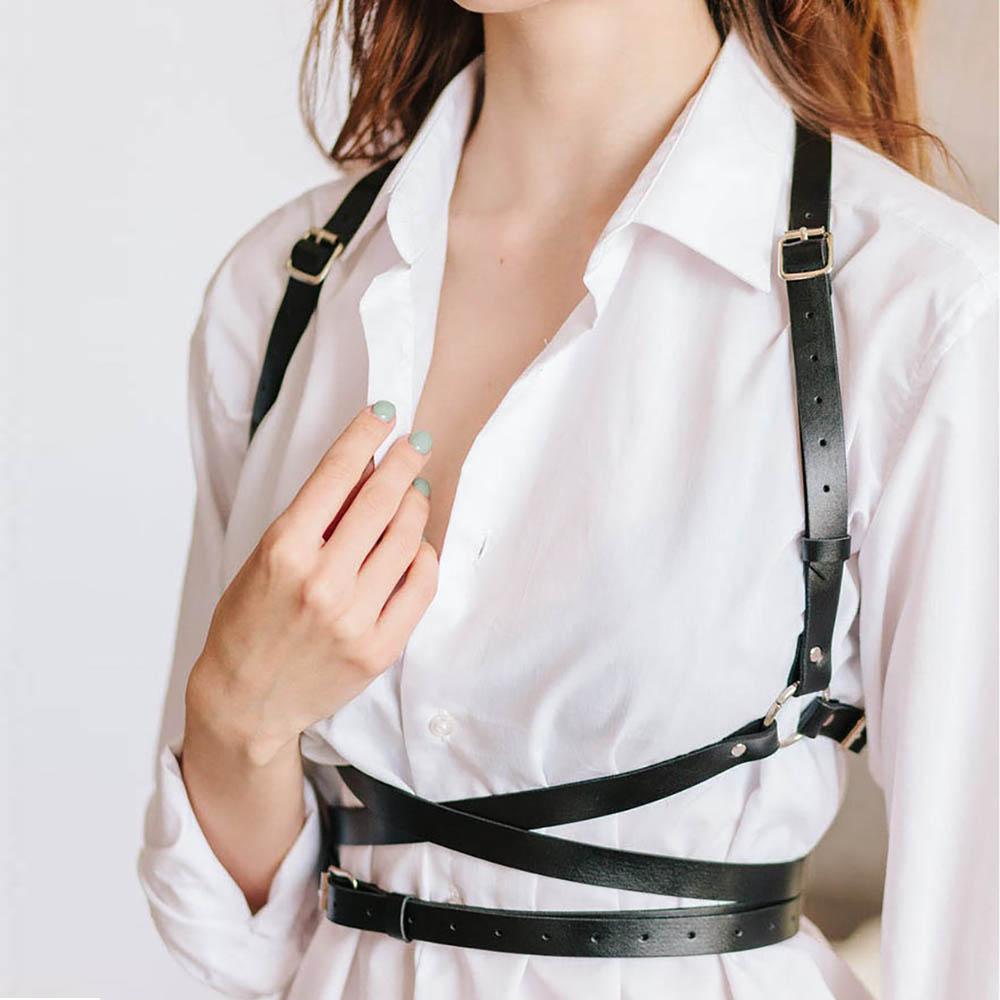 UYEE Trendy Leather Harness Sexy Lingerie Belt Adjustable Leather Garter Women Straps For Female Erotic Waist Body Suspenders 2