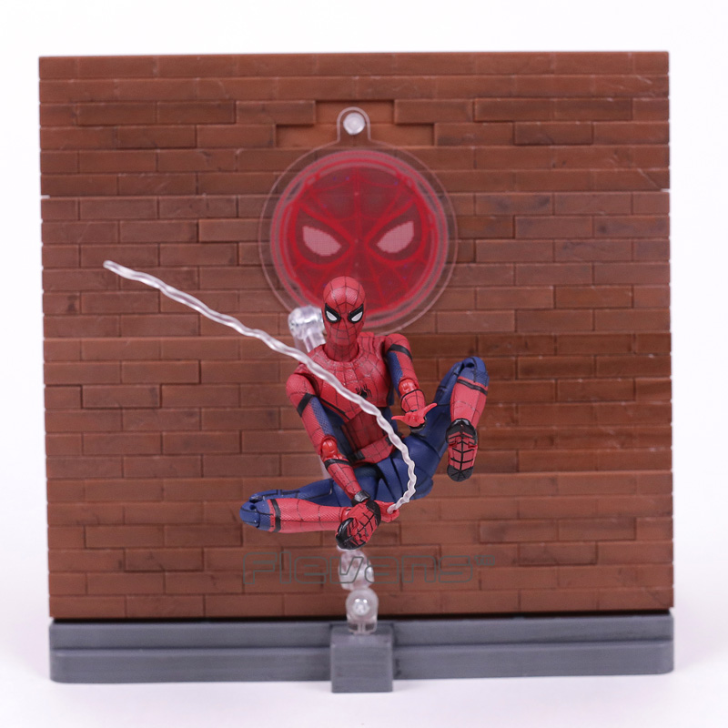 SHF S.H.Figuarts Spiderman Homecoming  Tamarshii Option Act Wall PVC Action Figure Collectible Model Toy 14cm shf s h figuarts spiderman homecoming tamarshii option act wall pvc action figure collectible model toy 14cm