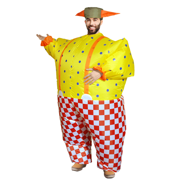 Adult Fat Suit Halloween Costume for Women Inflatable Clown Costume Check Pattern Outfit Jumpsuit Halloween Cosplay  sc 1 st  AliExpress.com & Adult Fat Suit Halloween Costume for Women Inflatable Clown Costume ...