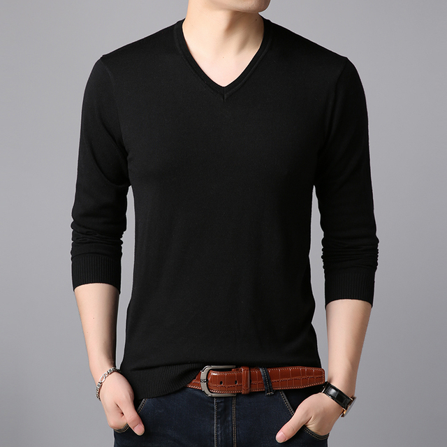 2018 Autumn &  Spring Mens V-Neck  Casual Sweaters Pullover Slim Fit Cashmere Solid Male Sweaters Pullovers Jumpers 12 Colors