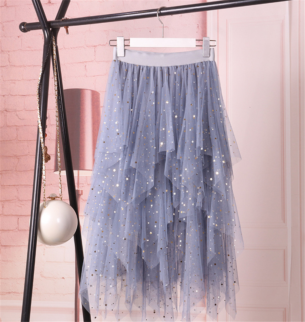2020 Casual Fashion Women's Summer High Waist Pleated Skirt  Sparkle Lady Tulle Geometric Shine Brilhar Mid-Calf Skirt 50