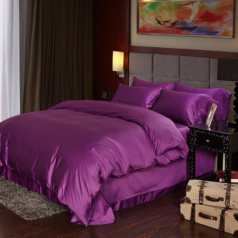 Luxury Deep Purple Egyptian Cotton Bedding Sets Sheets
