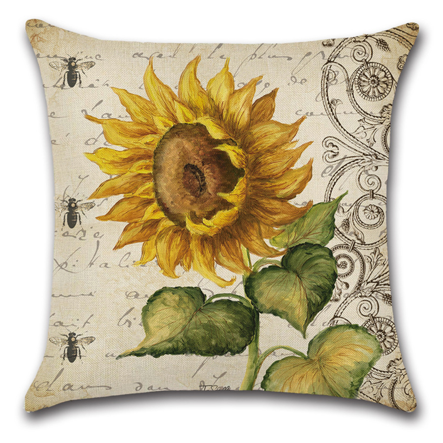 Image 2 - Plant Flower Letter Cushion Cover Set Oil Paiting Sunflower Pillowcase 45x45 for Car Sofa Living Room Decoration Custom Made-in Cushion Cover from Home & Garden