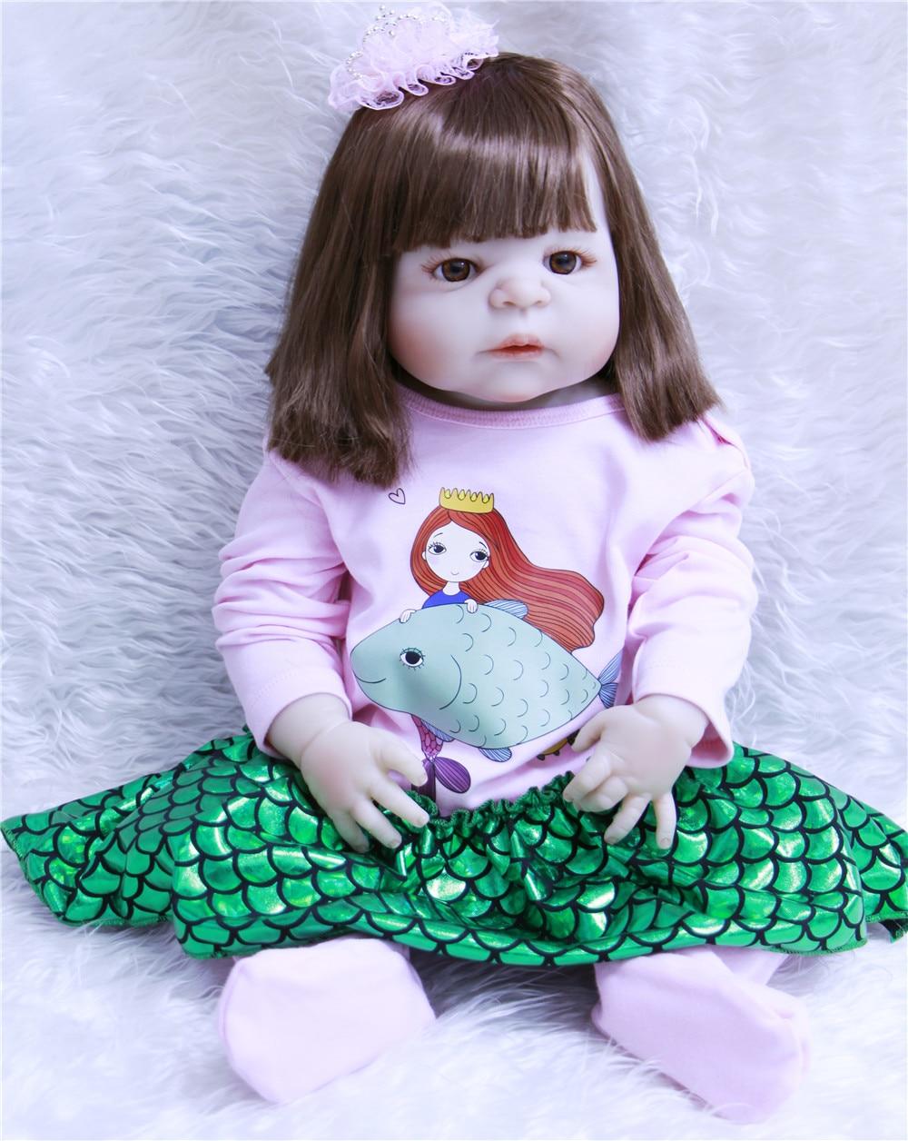 "NPK 23""girl body full silicone reborn babies dolls girl body toy dolls for kids gift bebe dolls menina de silicone menina 55 cm"