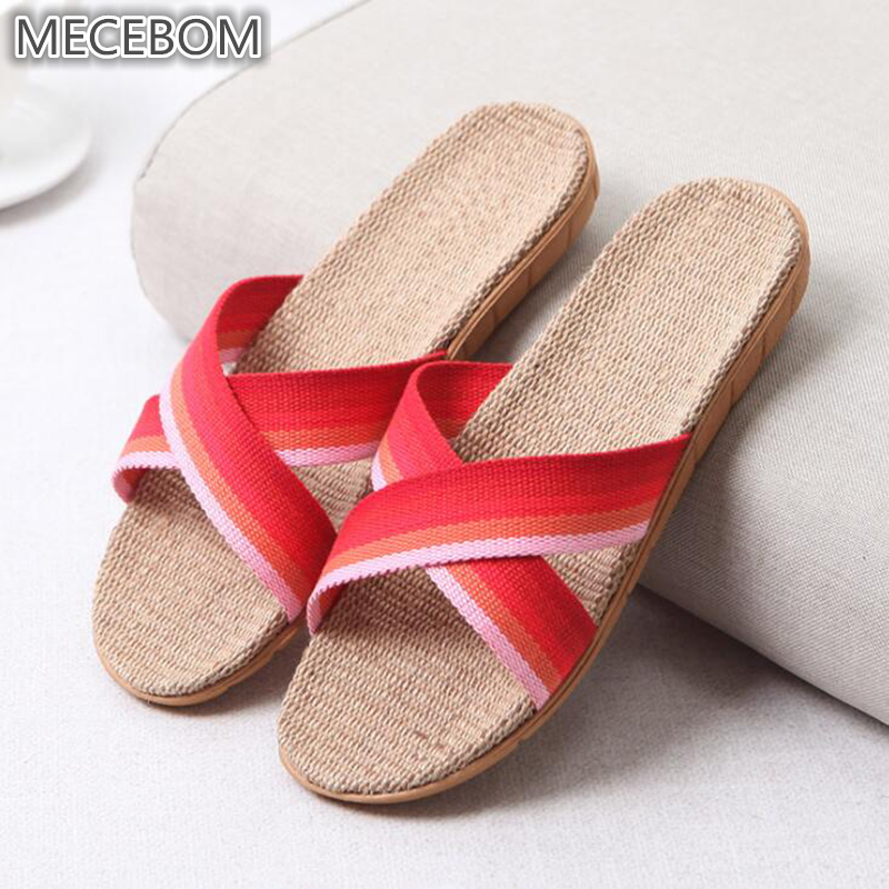 2018 Summer Flax Bathroom Home Women Flip Flop Shoes Non Slip Sandals Slipper Flat Wedge Heel Platform Shoes Chaussure Femme 25W 8