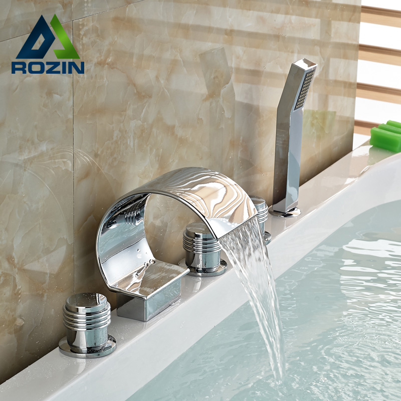 Chrome Finish 5pcs Bathtub Faucet Waterfall Spout Three Knobs Mixer Tap with Handheld Shower Mixer Taps free shipping polished chrome finish new wall mounted waterfall bathroom bathtub handheld shower tap mixer faucet yt 5333