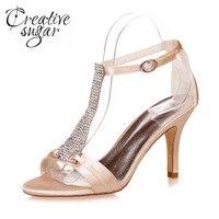 Creativesugar הרצועה לא גביש סנדלים עקב גבוה רצועת קרסול אישה נעלי סאטן שמלת קוקטייל מסיבת חתונה לנשף קיץ 6 צבעים