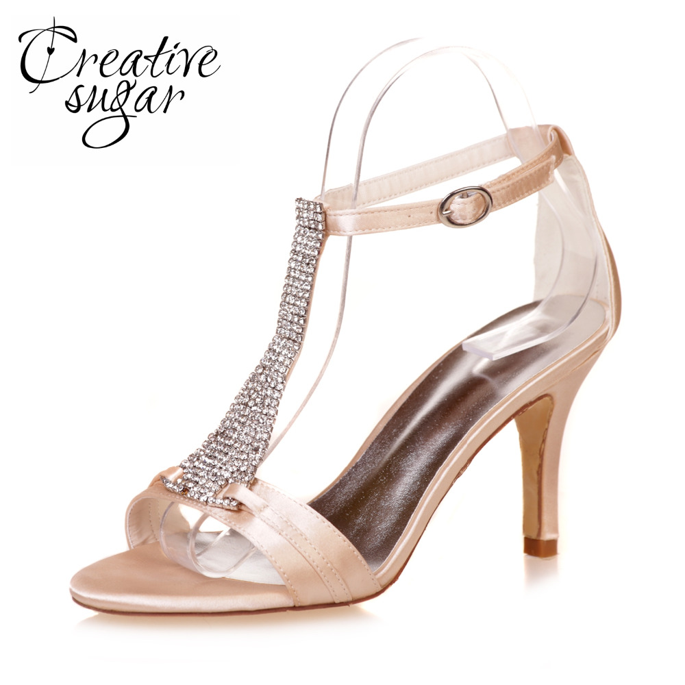 Creativesugar woman ankle strap high heel sandals crystal T strap summer wedding party prom cocktail satin dress shoes 6 colors