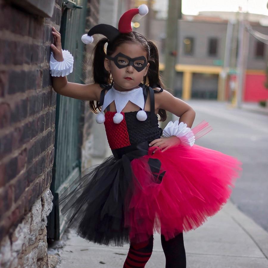 Harley Quinn Girls Tutu Dress with Headband and Mask Joker Fancy Children Halloween Birthday Costume Kids Party (5)