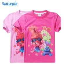Summer Troll T-shirts for Girls Clothing Kids Character Print Short Sleeve Top Tee Shirts for Children Trolls Cartoon Clothes