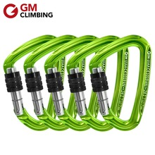 GM CLIMBING D Carabiner 24kN CE / UIAA Screw Locking Rock Climbing Carabiner Safety Lock Buckle Rescue Mountaineering Equipment gm climbing pulley 32kn ce uiaa large rescue double sheave pulley for tree climbing arborist survival mountaineering equipment