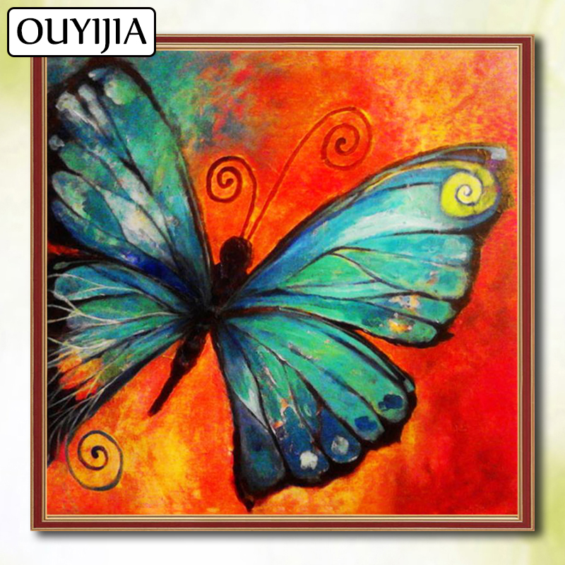OUYIJIA Butterfly Flower 5D DIY Diamond Painting Full Square Cartoon Picture Of Rhinestone Mosaic Diamond Embroidery Animal Bird