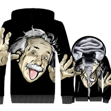 Einstein Jacket 3D Print Scientist Physicist Hoodie Men Funny Sweatshirt Winter Thick Fleece Coat The Big Bang Theory Streetwear футболка print bar unicorn