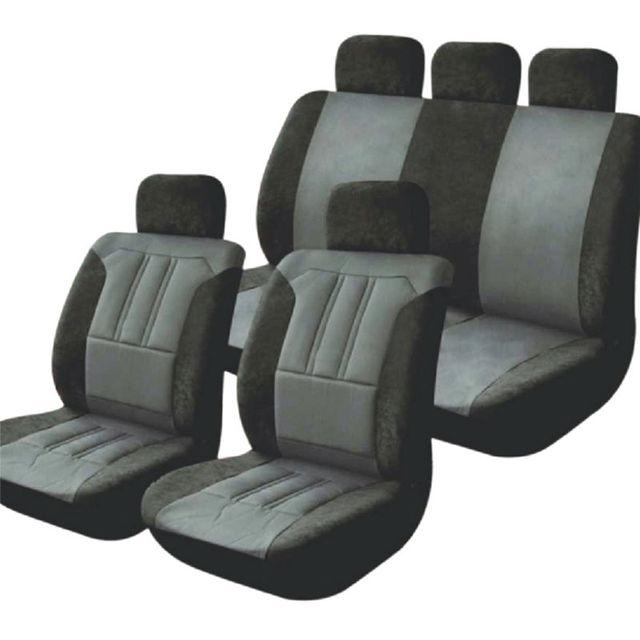 Universal 9 Pcs Car Seat Covers Black and Gray Microfiber Sponge Car Interior Accessories Sedans Car Styling Care Car Covers Set