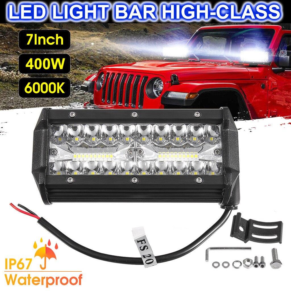 7 Inch 400W LED Work Light Bar Flood Spot Beam Offroad 4WD SUV Driving Fog Light Haz De Campo Barra De Luz De Trabajo Punto