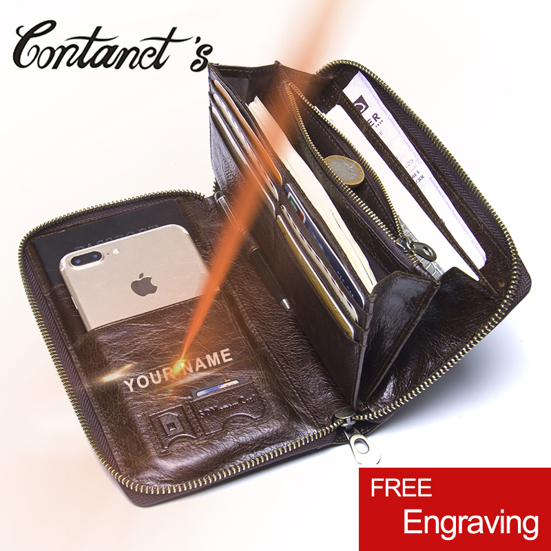 Contact's Men Long Clutch Wallets Genuine Cowhide Leather Men Zipper Purses Fashion Passport Wallet With Phone Bags Card Holder top brand genuine leather wallets for men women large capacity zipper clutch purses cell phone passport card holders notecase
