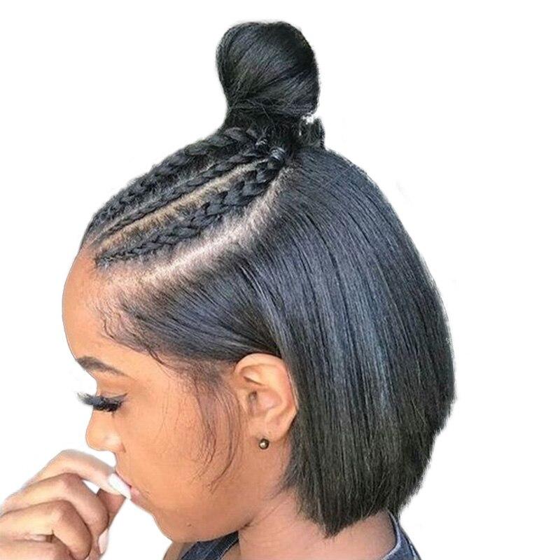 360 peluca Frontal de encaje Pre arrancado con el pelo del bebé corto recto pelucas de cabello humano para las mujeres negro Bob Peluca de encaje frente Remy termina