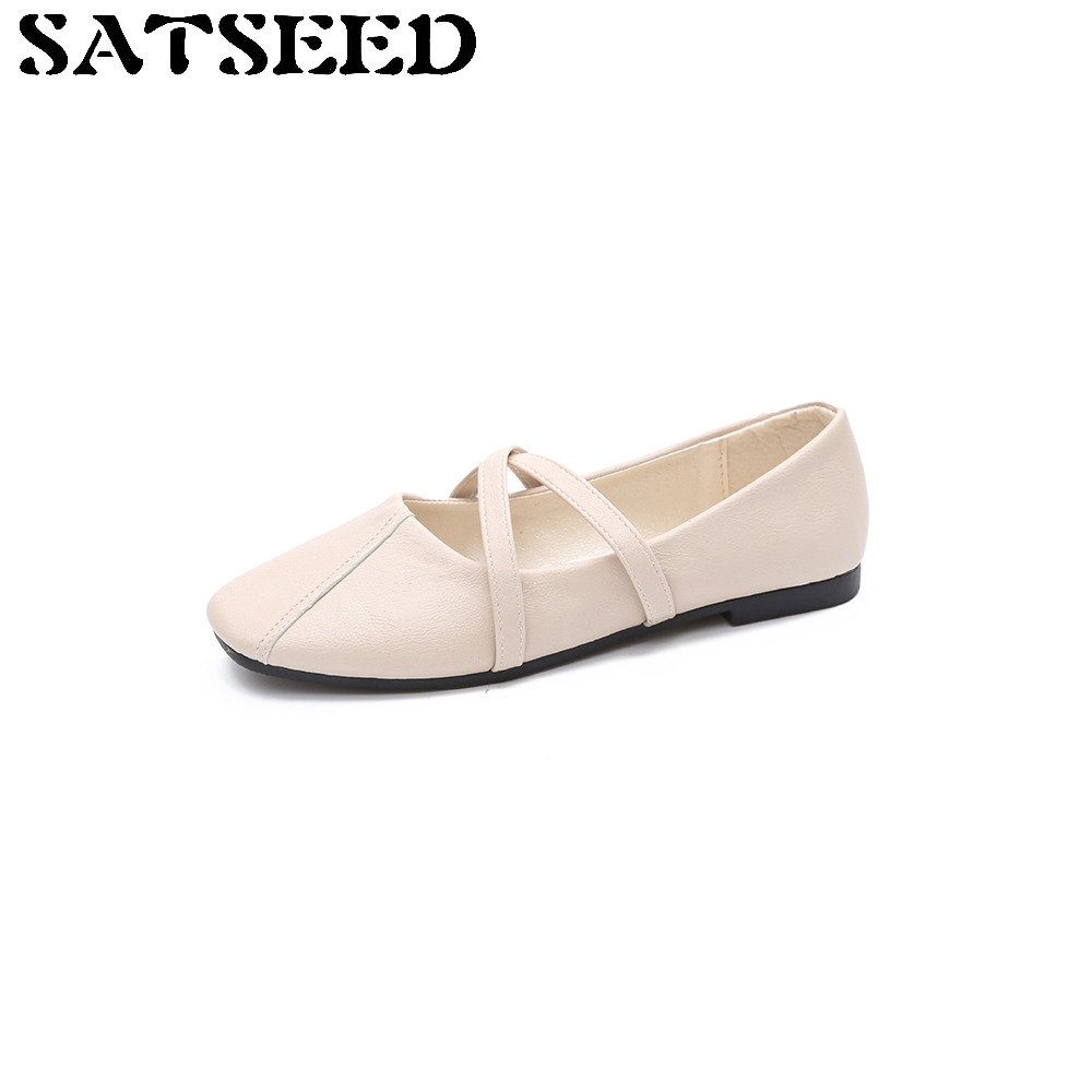 Soft Flat Women Shoes Autumn 2017 Shoes Woman White Korean Shallow Mouth Low Casual Shoes Square Toe Slip On Fashion New e hot sale wholesale 2015 new women fashion leopard flat shallow mouth shoes lady round toe shoes