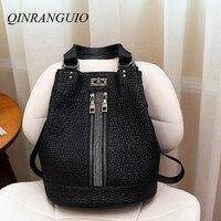 QINRANGUIO Backpack Women Fashion Genuine Leather Women Backpack High Quality Leather Backpack School Bags for Teenage Girls