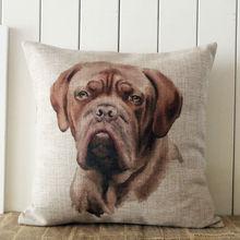LINKWELL 18″x18″ World Famous Dog Dogue de Bordeaux Dog Burlap Decorative Pillow Case Cover Cushion Cover Protector Slip
